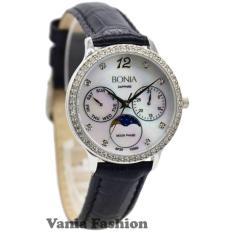 Bonia BNB10090-2355SB Jam Tangan Wanita Strap Leather Hitam Silver