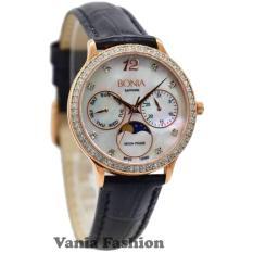 Bonia BNB10090-2555SB Jam Tangan Wanita Strap Leather Hitam Rose Gold