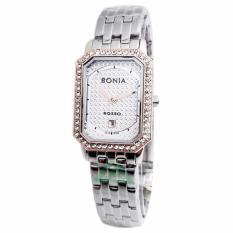 Bonia Rosso Crystal Swarovsky D20H885BN2372LCSLVP Date Jam Tangan Wanita Stainless Steel
