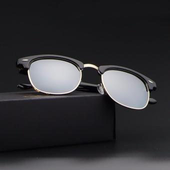 Bruno Dunn Brand women men clum party polarized sunglasses 51mm 3016 (black frame silver lense) - intl ...