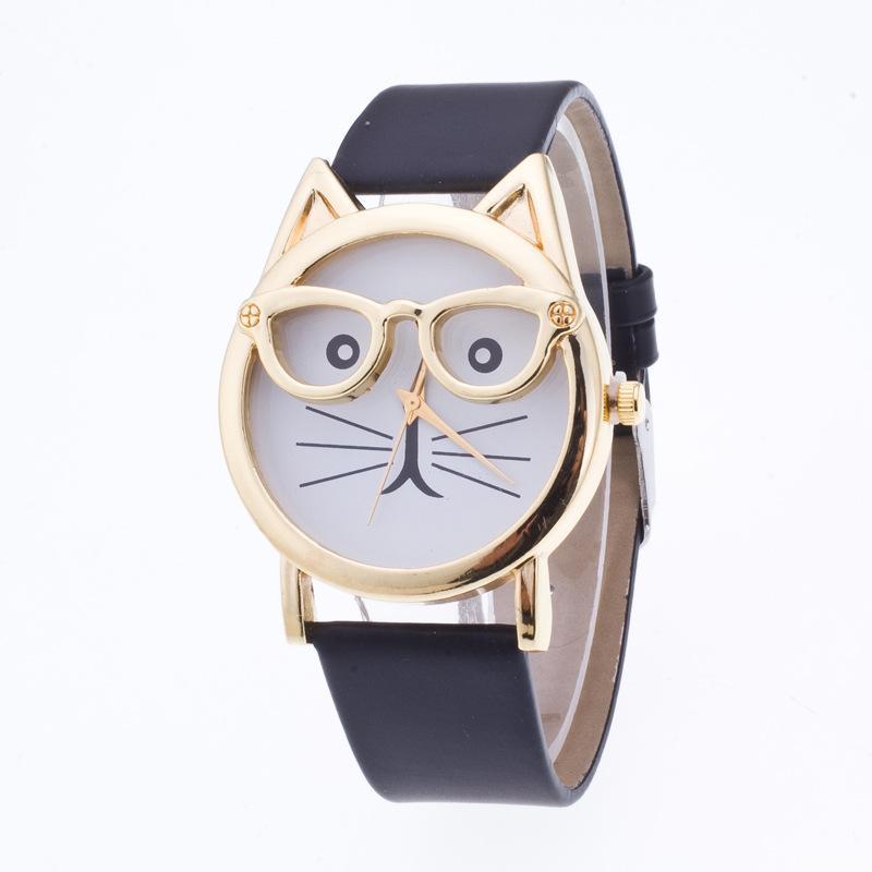 Busana merek pria orisinalitas teknik kucing memakai kaca mata Model Leopard cetak Wrist Watch