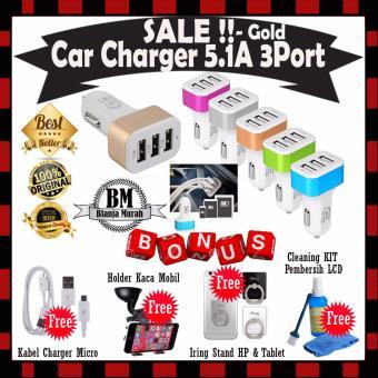harga Car Charger 5.1A 3 Port Casan Mobil - Gold GRATIS Kabel Charger Micro Android + Car Holder Kaca Mobil + Iring Stand HP & Cleaning Kit Pembersih LCD Laptop PC Lazada.co.id