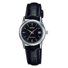 Casio Analog LTP-V002L-1A - Jam Tangan Wanita - Black & Silver - Leather Band