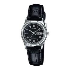 Casio Analog LTP-V006L-1B - Jam Tangan Wanita - Black & Silver - Leather Band