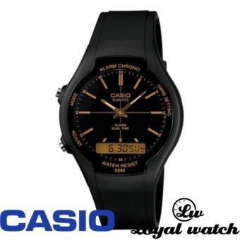 CASIO Original Jam Tangan Pria Wanita AW-90H-9E Hitam Coklat