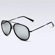 Casual Mens Aviator Polarized Sunglasses Cycling Sport FishingDriving Mirror Stainless Steel Black Frame Mercury Lens Sun