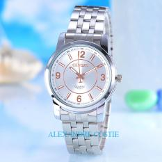 Cenozo JamTangan Pria Body Silver White Rose Dial Stainless Stell Band CNZ RT .