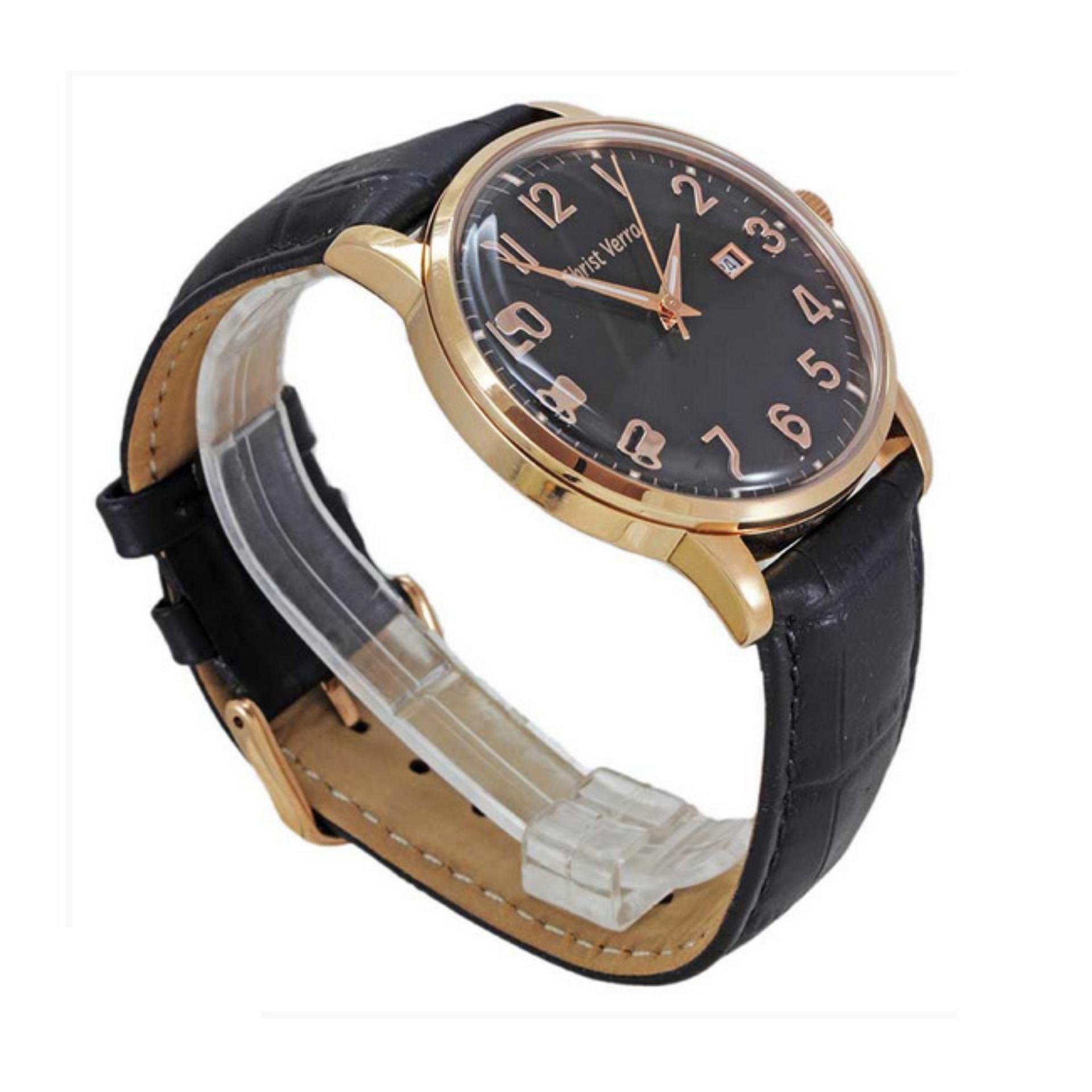Christ Verra Jam Tangan Pria Hitam Leather Strap 06199g 28 Update 72025g 13 Silver Gold Klasik Tali Kulit Original