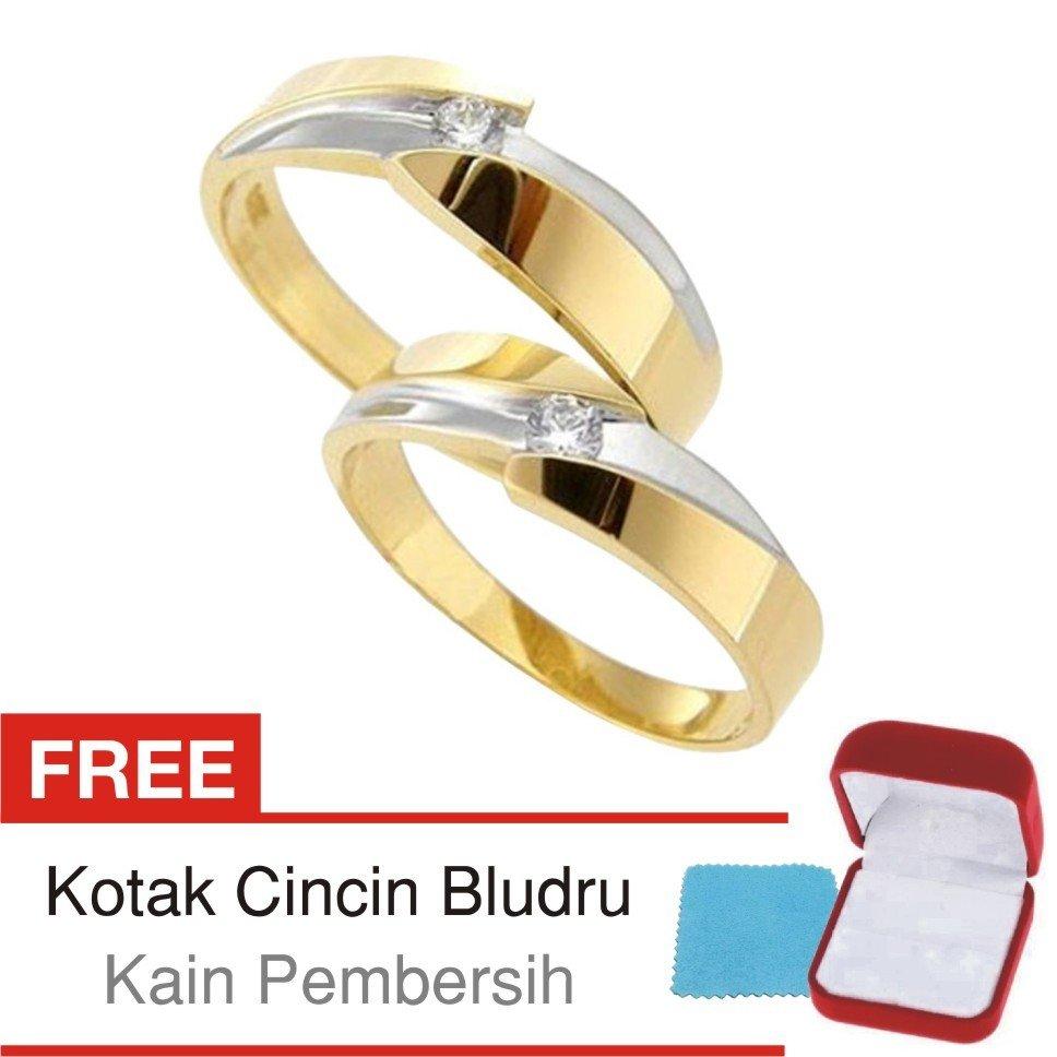Jual Beli Cincin Kawin Couple Perak Lapis Emas C08