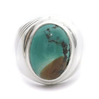 Gambar Cincin Perak Batu Turquoise Cincin Batu Pirus Cincin Serat Emas