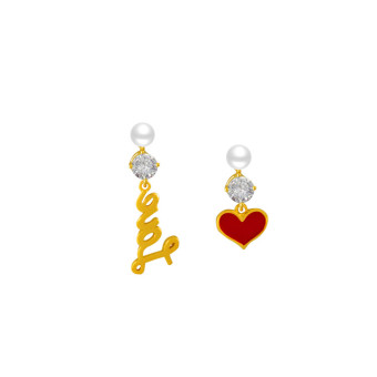 Penawaran Bagus Cinta merah sterling silver peach hati anting asimetris anting Hot Deals