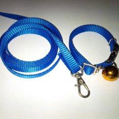 Collar/Kalung uk S + Leash Biru Tua untuk Kucing, Kelinci, Musang, Puppy Small breed