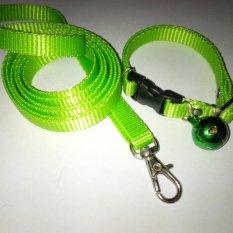 Collar/Kalung uk S + Leash Hijau Pupus untuk Kucing, Kelinci, Musang, Puppy Small breed