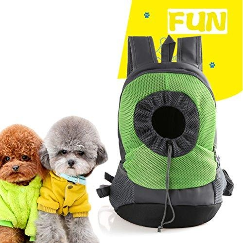 Comfortable Mesh Dog Cat Carrier Backpack Outdoor Travel Backpackwith Adjustable Viewing Hole(Green,M) - intl