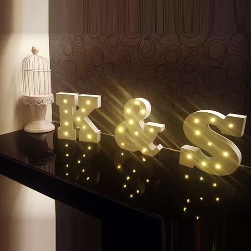 Creative Wood Letter LED Night Light Bedroom Lamp Wall Symbol Lights Sign Party - intl