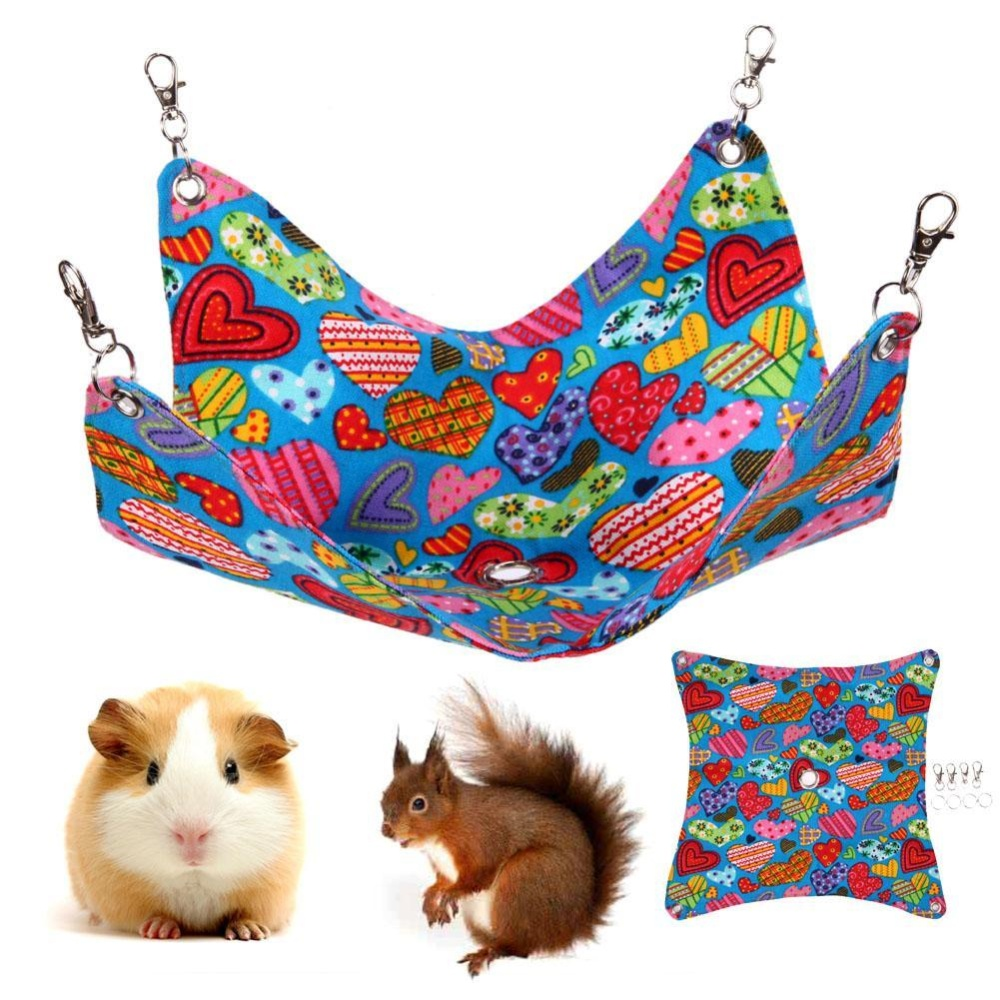 Cute Love Heart Shape Pet Canvas Hanging Blanket Mat HamsterHammock Cage(Multicolor) - intl