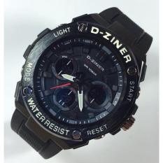 D Ziner Dual Time Jam Tangan Pria Rubber Strap Karet DS