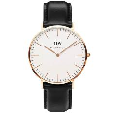 Daniel Wellington 0107DW Jam Tangan Pria Classic Sheffield 40MM Men Women Genuine Leather Watch - Black White