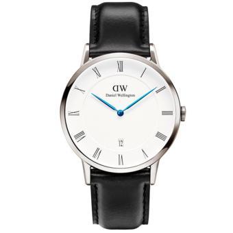 Daniel Wellington 1121DW Jam Tangan Pria Dapper Sheffield 38MM Men Genuine Leather Watch - Black White