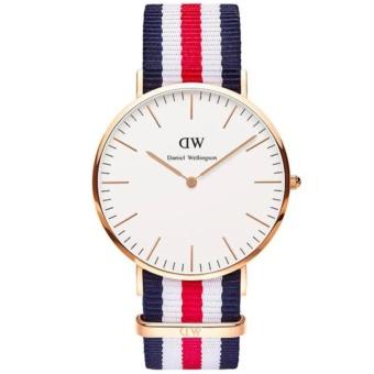 Daniel Wellingtonb. Jam Tangan Pria Wanita Classic Canterbury 40MM Men Women Nylon Watch - Blue Red