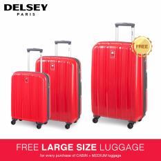 Delsey Cervin Tas Koper 3-piece 4Wheels Trolley Set - Merah