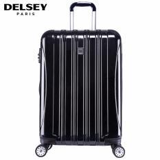 Delsey Helium Aero Tas Koper 69cm 4Wheels Glossy Medium Hard Case Trolley - Hitam
