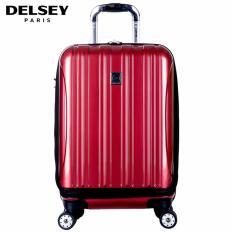 Delsey Helium Aero Tas Koper Travel 55cm 4Wheels Kabin Hard Case Dengan Kompartment Depan Trolley -  Merah