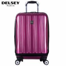 Delsey Helium Aero Tas Koper Travel 55cm 4Wheels Kabin Hard Case Dengan Kompartment Depan Trolley - Ungu