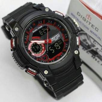 Digitec Jam Tangan Sport - Olahraga Renang - Dual Time DG3042T - Black Red