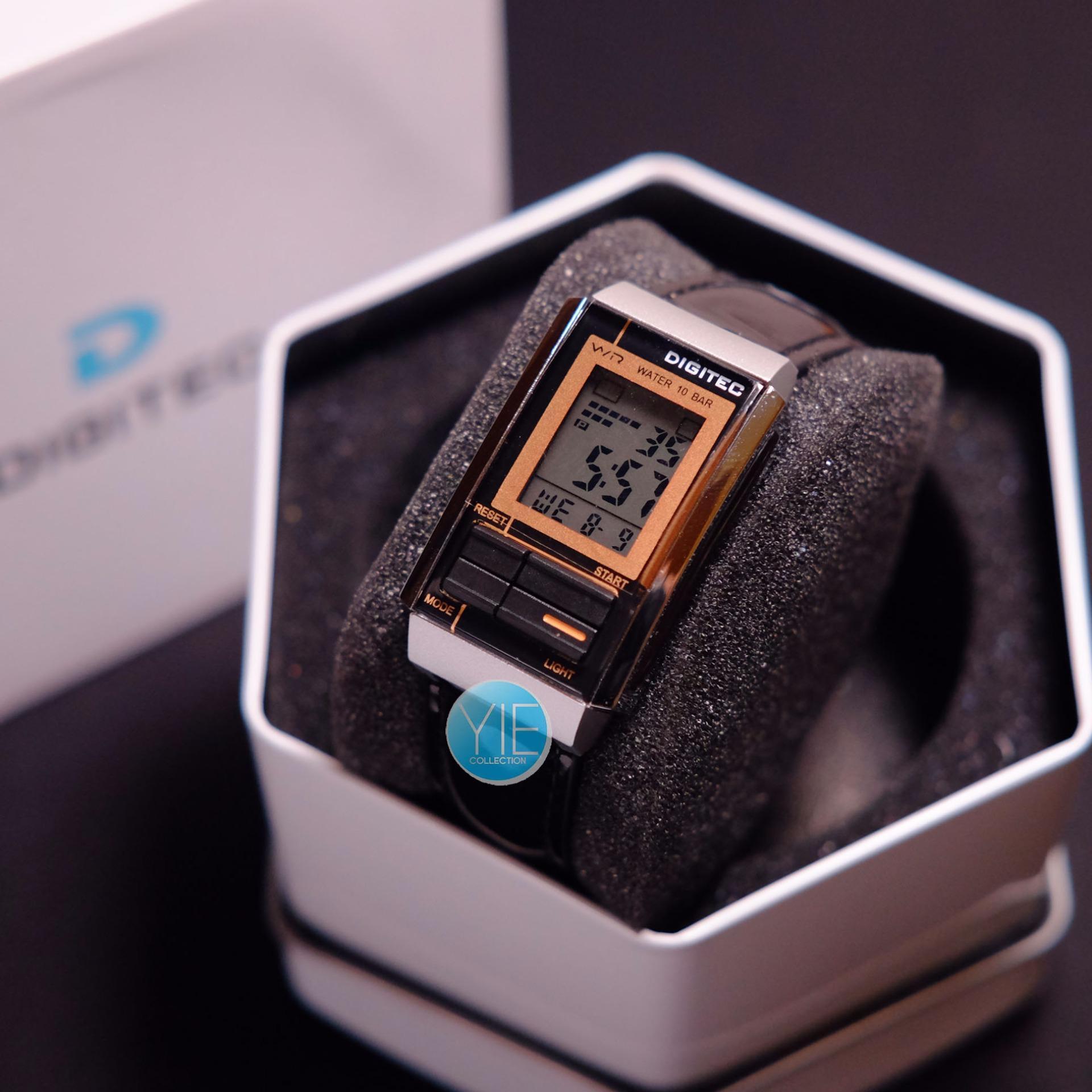 Digitec Jam Tangan Pria Dg 2105 T Dual Time Water Resistant Hitam Dg2065m Strap Karet Gold
