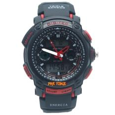 Digitec Original - DG2023M - Jam Tangan Pria Dual Time - Strap karet - Hitam Merah