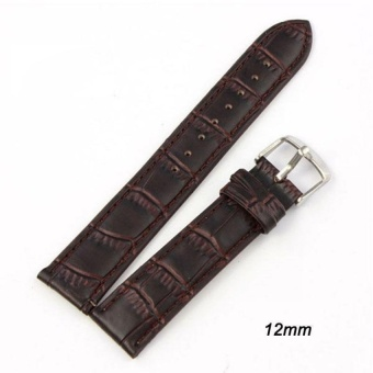 DJ High Quality Store New Women Men High Quality Unisex Bucklestainless Steel Leather Watch Strap Band 14Mm - intl