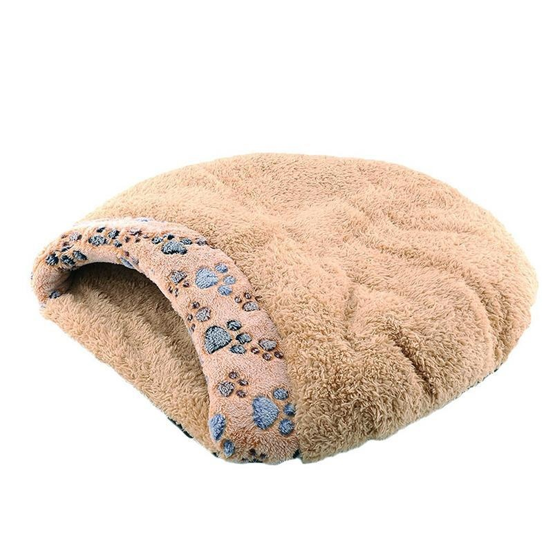 dmscs Kitten Sleep Bed With Paw Print Windproof Winter Cat HouseFor Cats Puppy And Rabbits. - intl