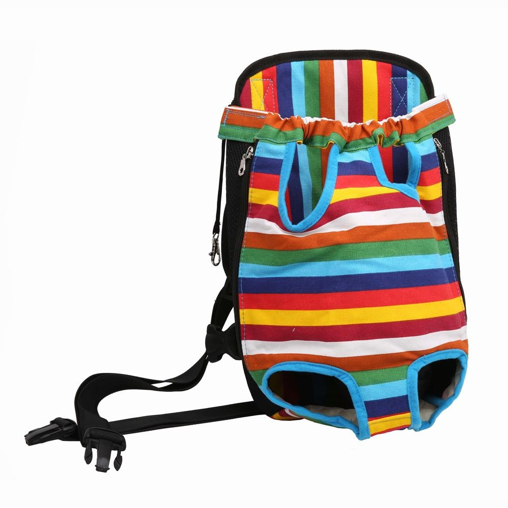 Dog Cat Pet Puppy Dog Carrier Backpack Colorful Strip Pattern Pet Dogs Cat Legs Out Front Carrier Bag(S) - intl