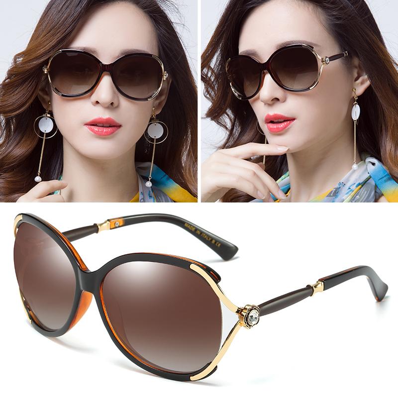 Dolaer Kacamata Matahari Cahaya Terpolarisasi Trendi Wanita Bingkai Bulat  Plastik Resin ba5d9ebb6d