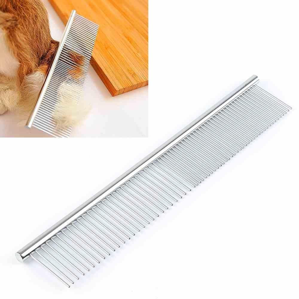 Double-teeth Stainless Steel 19*3cm Pet Hair Comb Hair GroomingTools Straight - intl