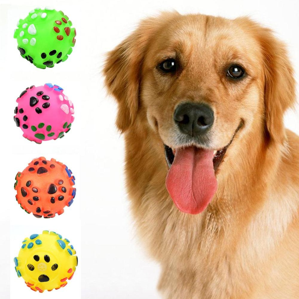 Elife Funny Paw Printing Pet Dog Squeak Ball Toys Puppy Cat Chew Sound Balls Pet Supplies - intl
