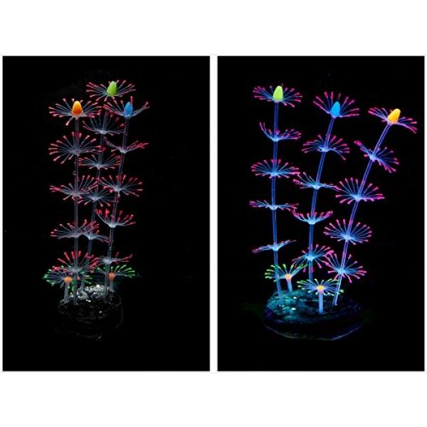 ePro 2PCS Strip Coral Plant Ornament Glowing Effect Silicone Artificial Decoration Decor for Aquarium Fish Tank