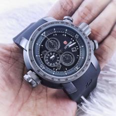Expedition Airbone Rubber D48H1135HTAB Chronograph Jam Tangan Pria Rubber Strap - Hitam Abu-abu
