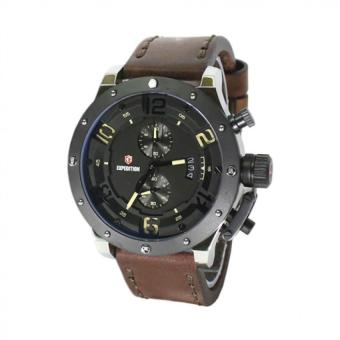 Expedition E6381 Pria - Jam Tangan Pria - Silver Black - Leather Strap - Cokelat - Anti Air