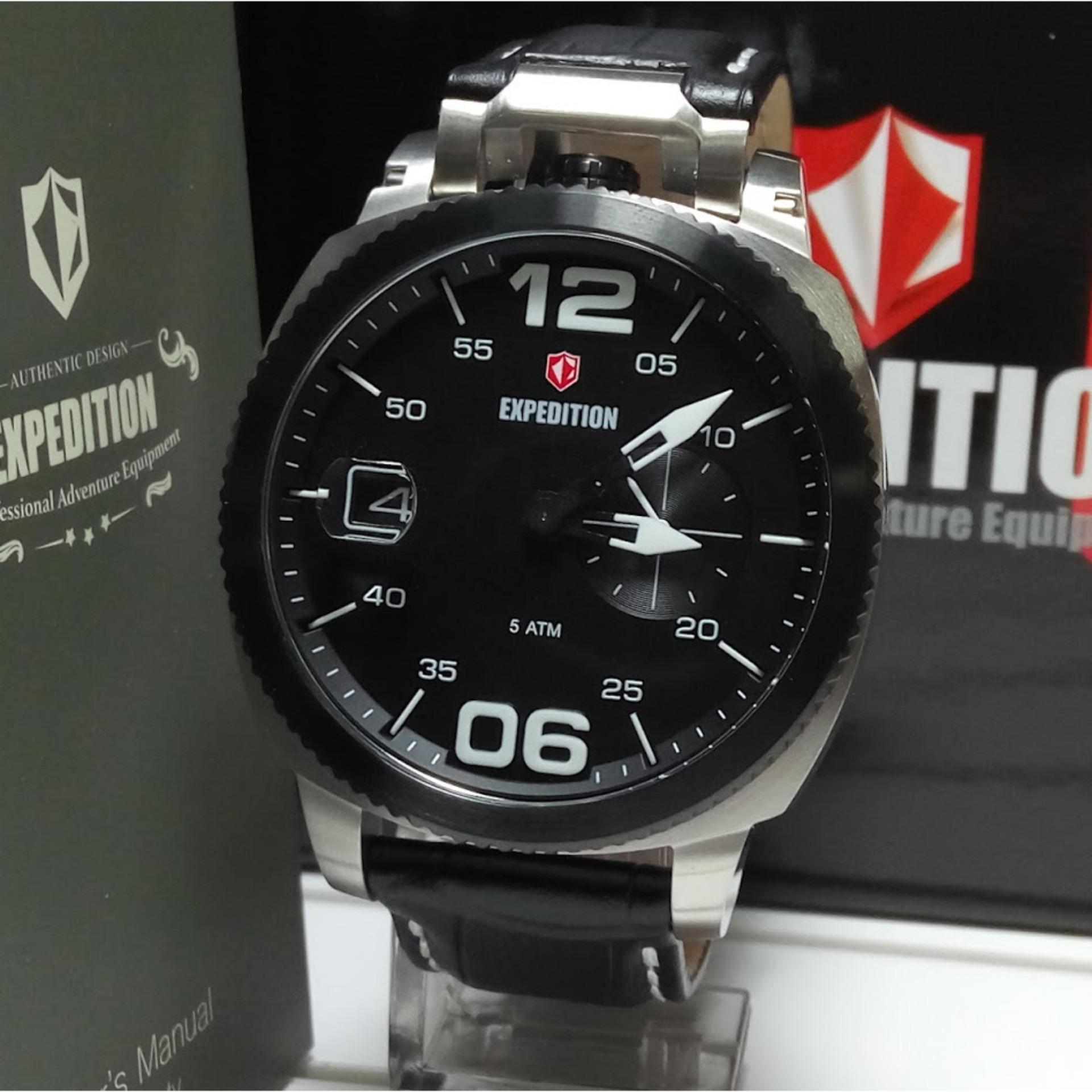 Expedition 6700mc Black Silver Leather Jam Tangan Pria Daftar E6737 Dual Time Hitam Rosegold E6723m Stainless Steel