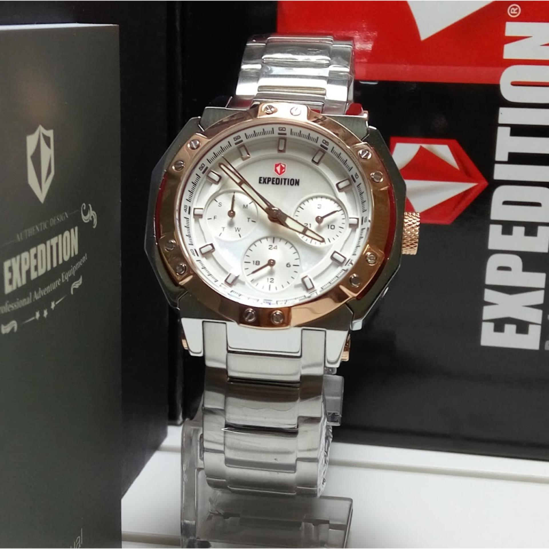 Expedition Jam Tangan Pria E6706mt Triple Time Black E6318m Rose Gold Dark Brown Wanita E6385b Multifunction Silver Stainless Steel