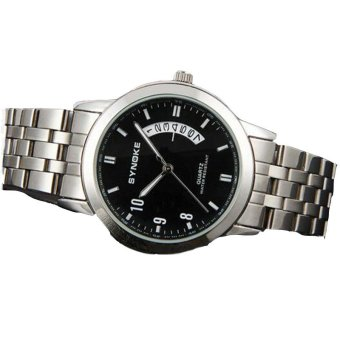 Extendable Men's Wrist Watch Stainless Steel Band Roman Number 8601 Black