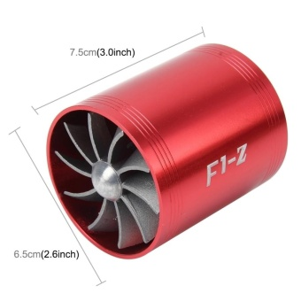 F1-Z Car Stainless Universal Supercharger Dual Double Turbine AirIntake Fuel Saver Turbo Turboing Charger Fan Set Kit(Red) - intl - 2