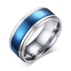 Fashion Blue Pria Ring Stainless Steel SILVER DISEPUH Kawin Cincin untuk Pria, Ukuran 8 Sampai 11-Intl