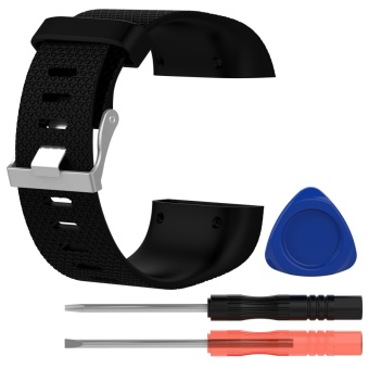 Fashion Cool Silicone Replacement Strap Band Wristband Bracelet with Screwdriver Tools for Fitbit Surge Watch Size S Black - intl