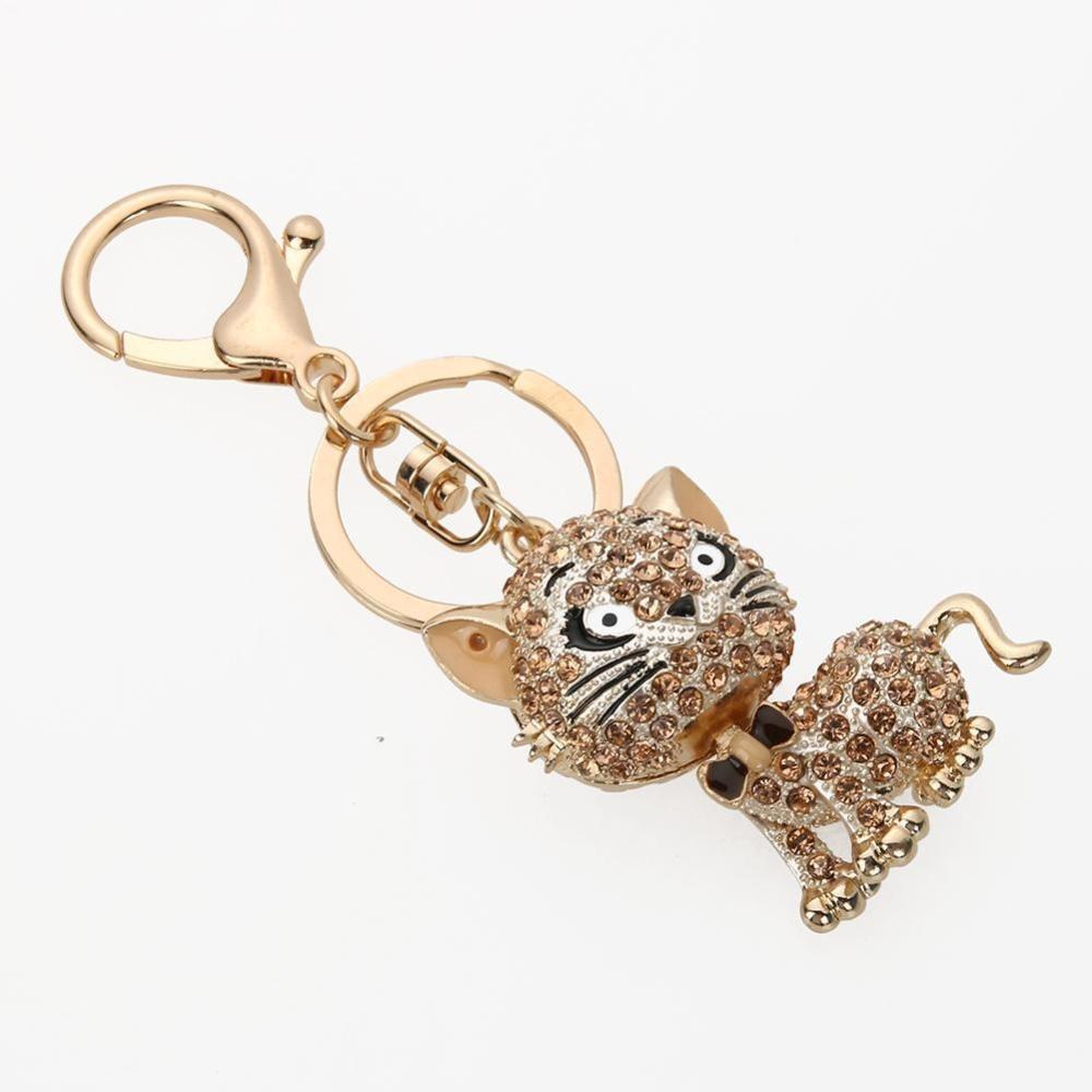 Fashion Rhinestone Kitten Keychains Women Bag Pendant Car Accessories(Gold) - intl