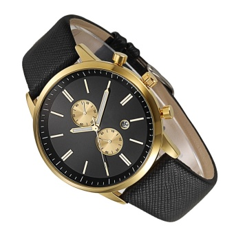 Fashion Round Dial Waterproof PU Leather Watch Belt Quartz Wrist Watch for Couples Lovers Ladies Sports Bussiness Leisure Golden - intl