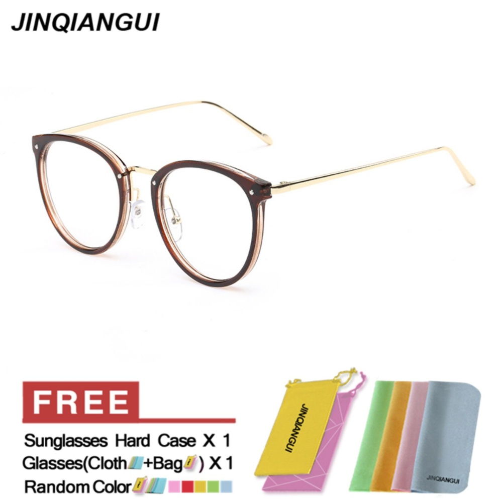 ... Fashion Vintage Retro Round Glasses Brown Frame Glasses Plain for Myopia Women Eyeglasses Optical Frame Glasses ...