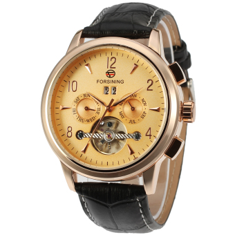 Forsining Men Mechanical Dress Watch Tourbillon Automatic Wristwatch Black Leather Strap Gift Box FSG340M4T1 (Gold)